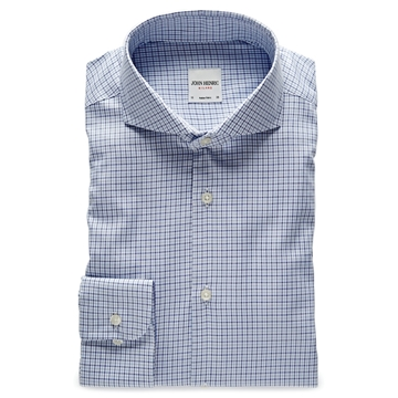 Bilde av John Henric Lt. Blue Navy Check Twill Shirt