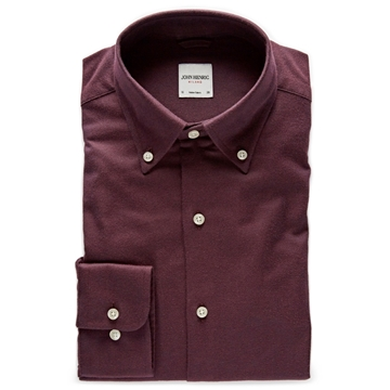 Bilde av John Henric Wine Red Cotton-Flannel Shirt